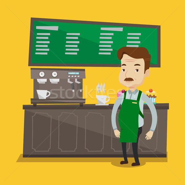 Barista em pé adulto café Foto stock © RAStudio