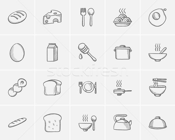 Voedsel drinken schets web mobiele Stockfoto © RAStudio