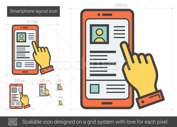 Smartphone układ line ikona wektora odizolowany Zdjęcia stock © RAStudio