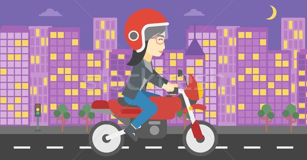 Stockfoto: Vrouw · paardrijden · motorfiets · asian · jonge · vrouw · helm