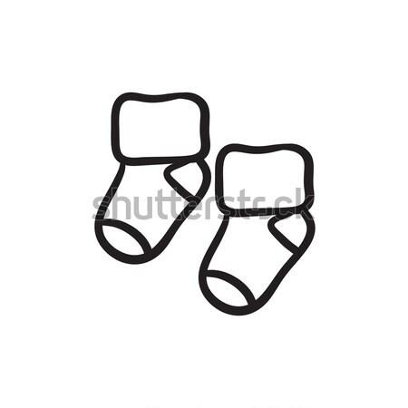 ребенка носки эскиз икона вектора изолированный Сток-фото © RAStudio