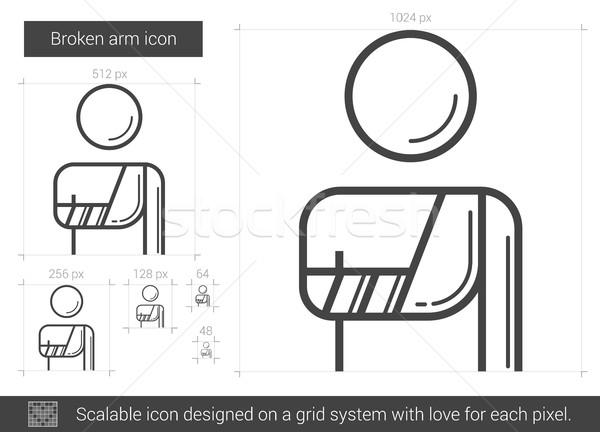Gebroken arm lijn icon vector geïsoleerd Stockfoto © RAStudio