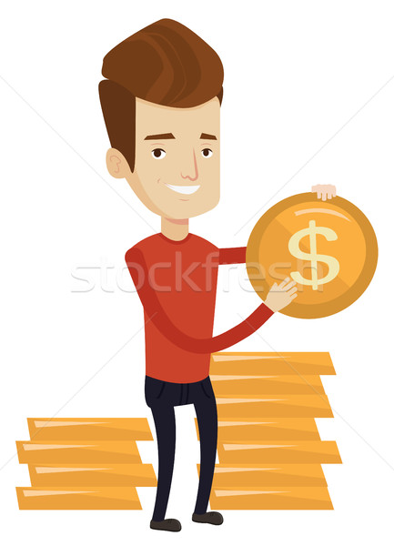 Stock fotó: Sikeres · üzletember · dollár · érme · kaukázusi · arany