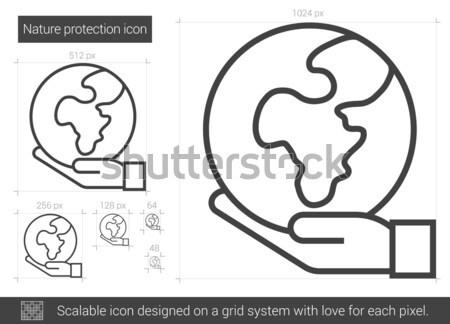 Stockfoto: Natuur · bescherming · lijn · icon · vector · geïsoleerd