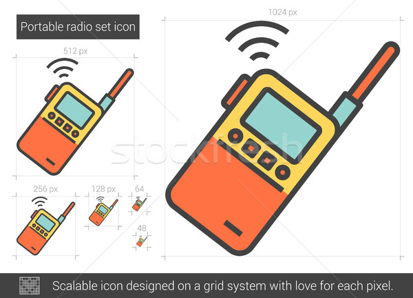 Portable radio set line icon. Stock photo © RAStudio