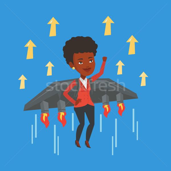 Gelukkig zakenvrouw vliegen raket succes zakenvrouw Stockfoto © RAStudio
