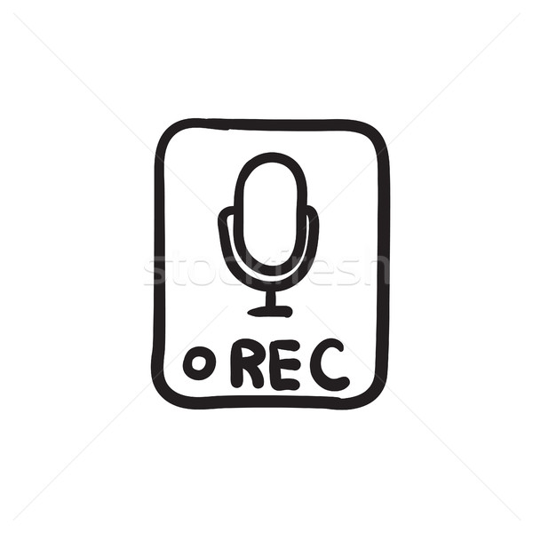 レコード ボタン スケッチ アイコン ベクトル 孤立した ストックフォト © RAStudio