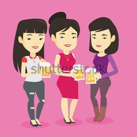 Gruppe Freunde genießen Bier Veröffentlichung asian Stock foto © RAStudio