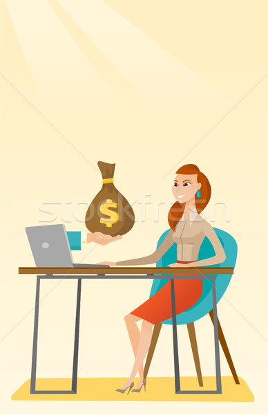 Businesswoman earning money from online business. Stock photo © RAStudio