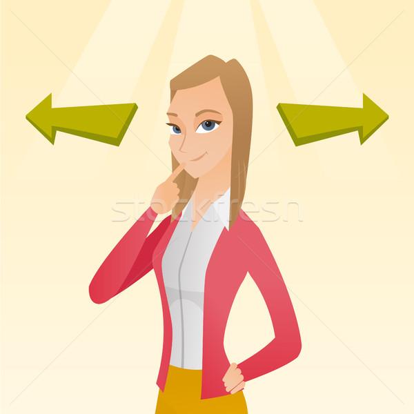 Vrouw kiezen carriere manier business oplossing Stockfoto © RAStudio