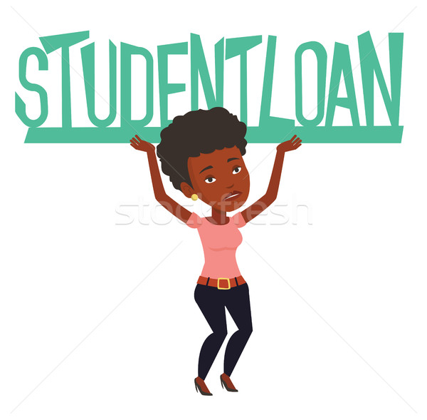 Vrouw teken student lening afrikaanse Stockfoto © RAStudio