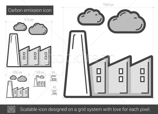Carbono emissão linha ícone vetor isolado Foto stock © RAStudio
