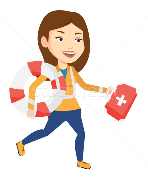 Paramédicaux courir premiers soins boîte urgence Photo stock © RAStudio
