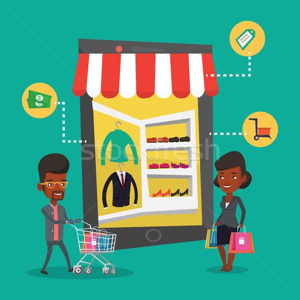 ストックフォト: 男 · 女性 · ショッピング · を · 小さな · オンラインショッピング