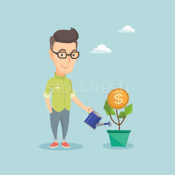 üzletember locsol pénz virág üzletember kaukázusi Stock fotó © RAStudio