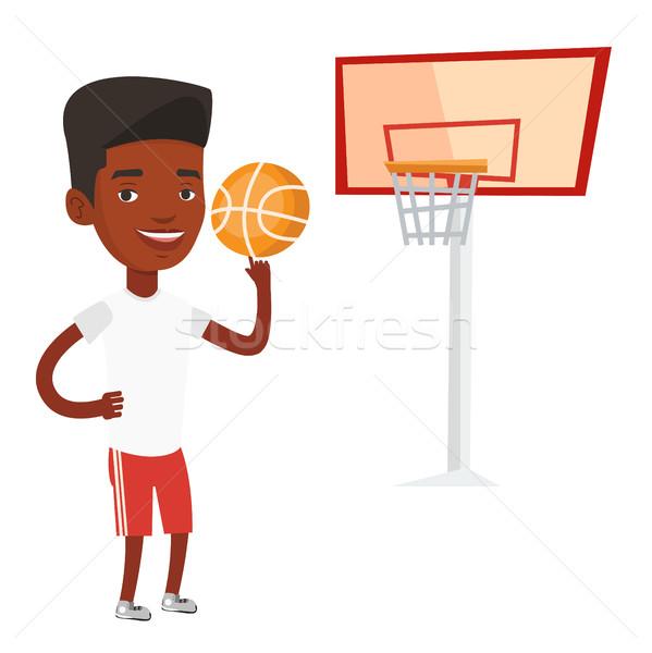 Jóvenes pelota baloncesto dedo Foto stock © RAStudio