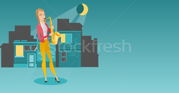 Muzikant spelen saxofoon kaukasisch vrouw Stockfoto © RAStudio
