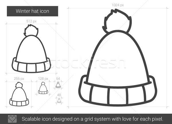 Winter hat line icon. Stock photo © RAStudio