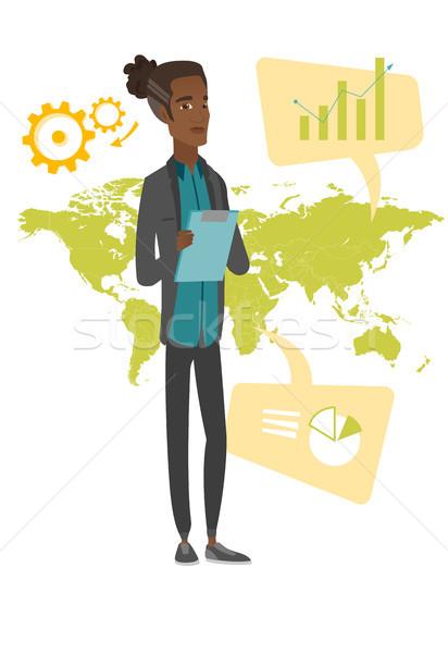 Afrikai üzletember dolgozik globális üzlet fiatal elvesz Stock fotó © RAStudio
