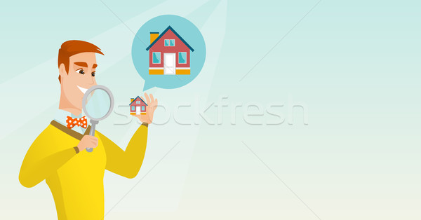 Young caucasian man looking for a house. Stock photo © RAStudio