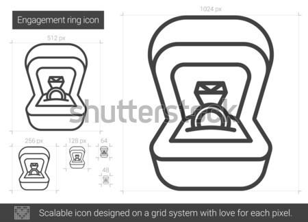 Anello di fidanzamento line icona vettore isolato bianco Foto d'archivio © RAStudio