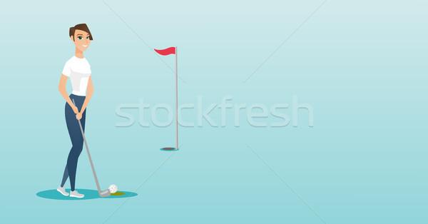 молодые кавказский гольфист мяча гольф Сток-фото © RAStudio