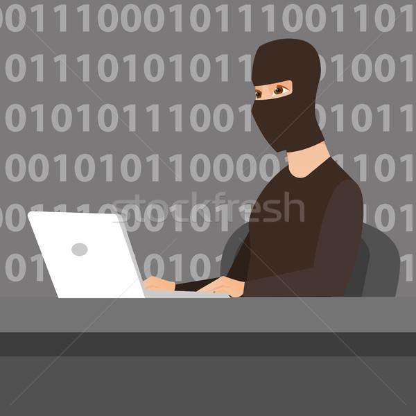 Utilizzando il computer portatile informazioni computer maschera lavoro Foto d'archivio © RAStudio