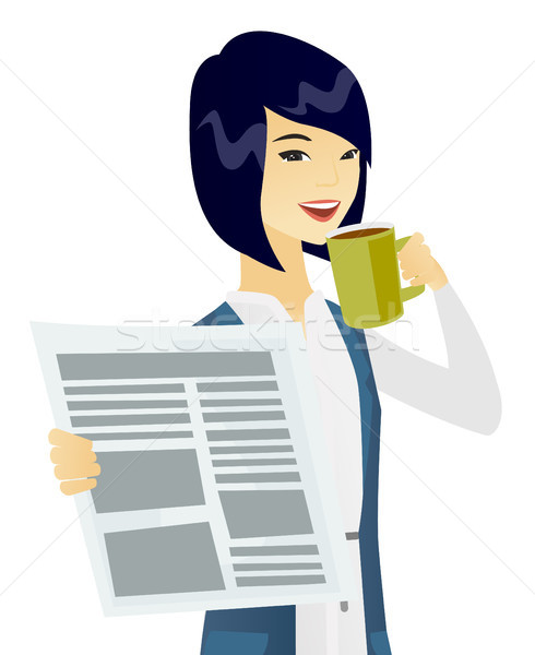 Stock photo: Asian woman drinking coffee and reading newspaper.