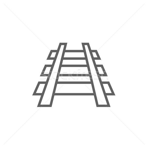 Spoorweg track lijn icon hoeken web Stockfoto © RAStudio
