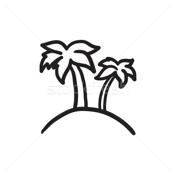 Kettő pálmafák sziget rajz ikon vektor Stock fotó © RAStudio