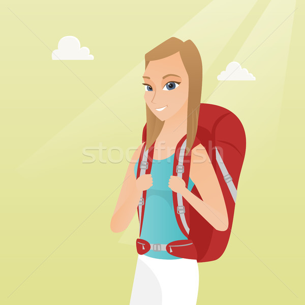 Young caucasian traveler woman with a backpack. Stock photo © RAStudio