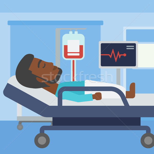 Férfi kórházi ágy ágy kórház beteg szívritmus Stock fotó © RAStudio