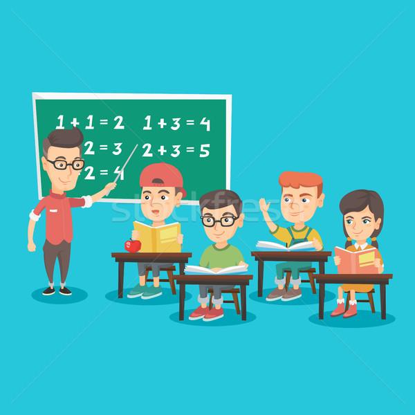 Jóvenes maestro ninos matemáticas caucásico Foto stock © RAStudio