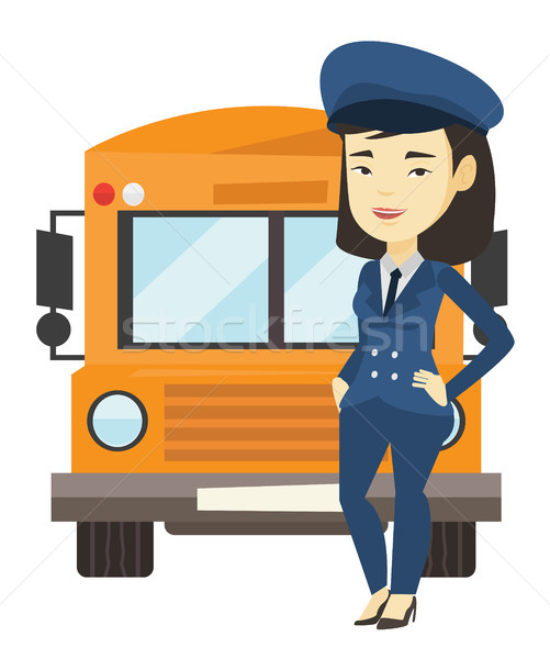 スクールバス ドライバ 小さな アジア 立って 黄色 ストックフォト © RAStudio