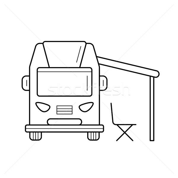 RV camping motorhome line icon. Stock photo © RAStudio
