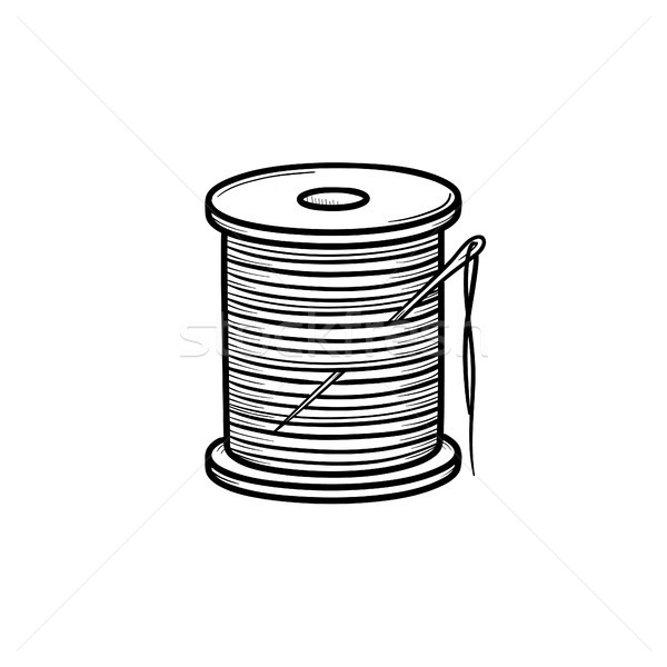Thread spool with needle hand drawn sketch icon. Stock photo © RAStudio