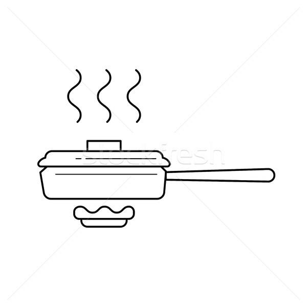 сковорода вектора линия икона изолированный белый Сток-фото © RAStudio