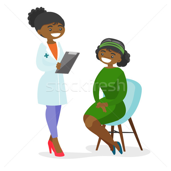 Giovani medico consulenza paziente clinica parlando Foto d'archivio © RAStudio