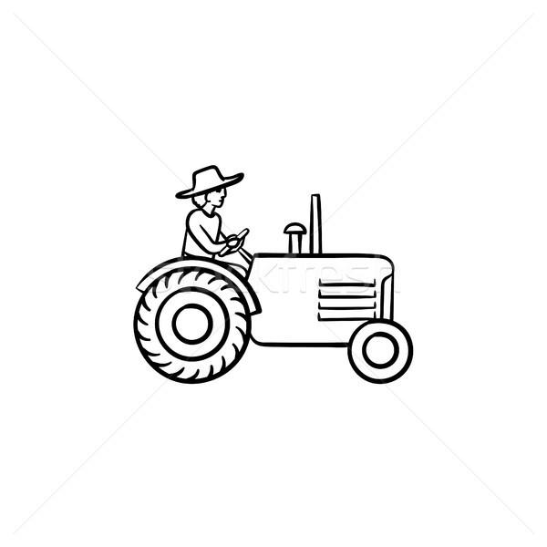 человека вождения трактора рисованной эскиз икона Сток-фото © RAStudio