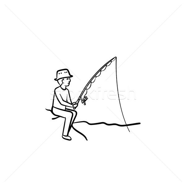 Fishing hand drawn sketch icon. Stock photo © RAStudio