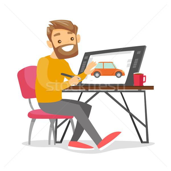 Fehér férfi grafikus designer irodai asztal szabadúszó művész Stock fotó © RAStudio