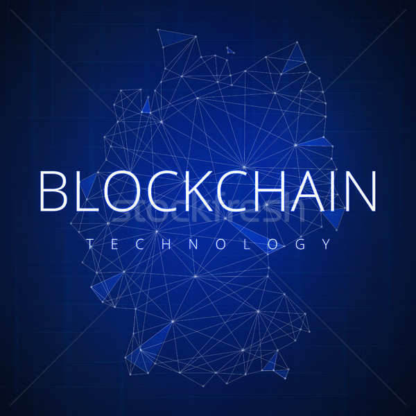 Blockchain technology hud banner with Germany map. Stock photo © RAStudio