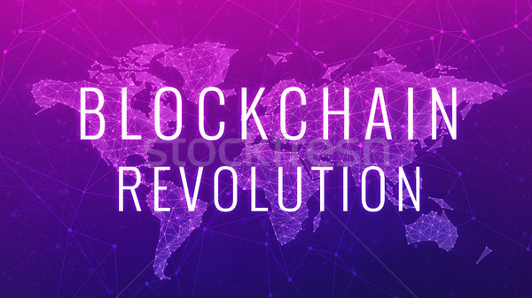 Blockchain revolution futuristic ultraviolet hud banner. Stock photo © RAStudio
