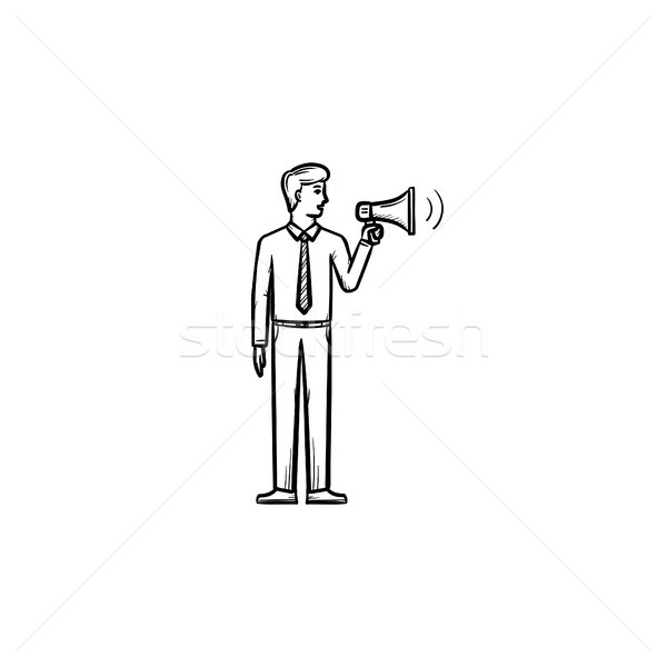 Businessman with megaphone hand drawn outline doodle icon. Stock photo © RAStudio