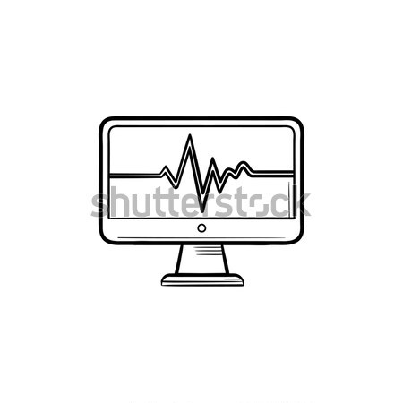 ECG machine displaying heartbeat hand drawn outline doodle icon. Stock photo © RAStudio