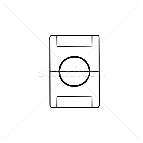 Football field hand drawn outline doodle icon. Stock photo © RAStudio