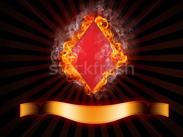 Gyémántok kártya tűz számítógépes grafika terv füst Stock fotó © RAStudio