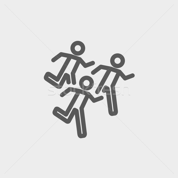 Maraton futók vékony vonal ikon háló Stock fotó © RAStudio
