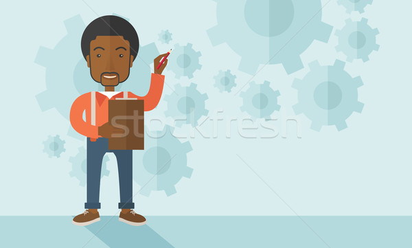 African lecturer with gears background Stock photo © RAStudio