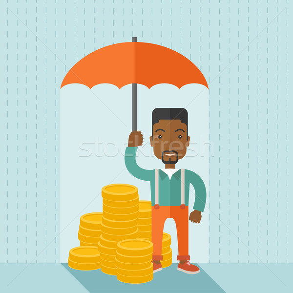 African-american businessman with umbrella as protection for his investment. Stock photo © RAStudio